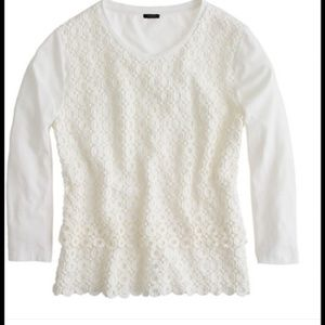 NWT J. CREW CIRCLE LACE CREAM TOP